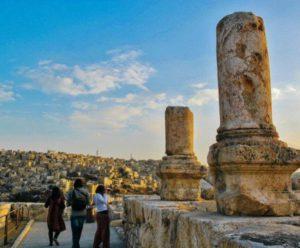 Roman remains in the citadel of Amman in Jordan