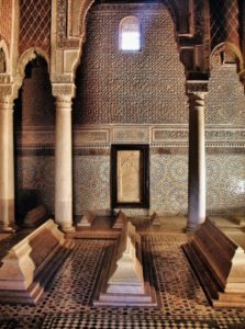 Room of the Twelve Columns in the Saadian Tombs in Marrakech