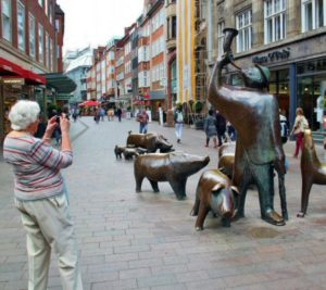 Sculptures on a shopping street of Bremen in Germany