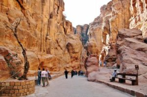 Siq gorge of Petra in Jordan