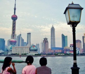 Skyscrapers of the new Shanghai, in the port area of Pudong