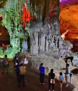 Sung Sot caves in Halong Bay in Vietnam