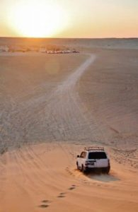 Sunset in the dunes of the Tozeur desert in Tunisia