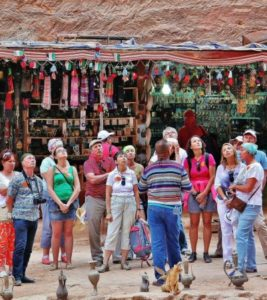 Tourists before the Treasury of Petra in Jordan