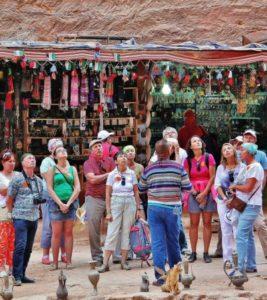 Tourists before the Treasury of Petra in Jordan