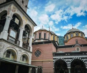 Tower and church of Rila monastery in Bulgaria