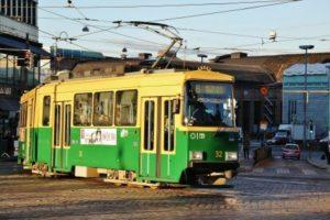 Tram in the center of Helsinki