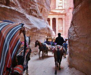 Treasury of Petra in Jordan from the Siq Gorge