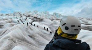 Trekking through the Qalerallit Glacier in Greenland