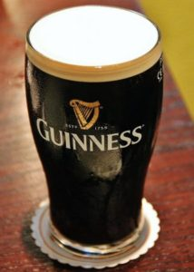 Typical Guinness beer in Ireland