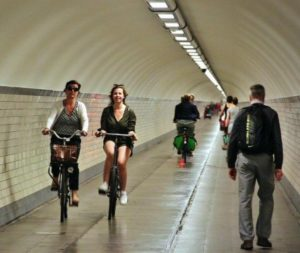 Underground tunnel under the Scheldt river in Antwerp