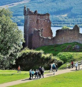 Urquhart Castle on Loch Ness in the Highlands of Scotland