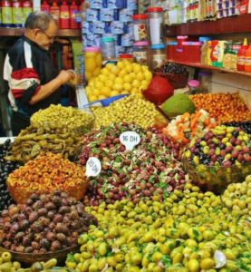 Variety of olives in a market of Tangier