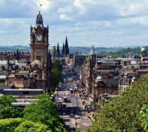 View of Princes Street from the hill of Calton Hill in Edinburgh