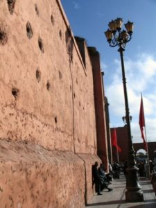 Wall of the Medina of Marrakech in Morocco