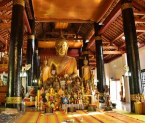 Wat Aham temple in Luang Prabang in Laos