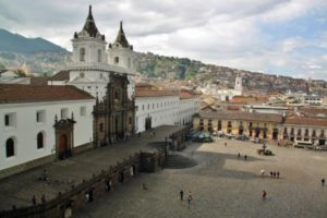 Plaza and church of San Francisco from hotel terrace Gangotena in Quito