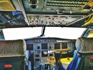Cabin of a Vueling airplane