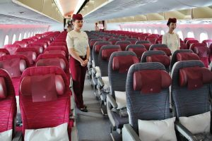 Interior of a Qatar Airways plane