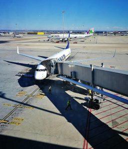 Ryanair plane in Madrid airport