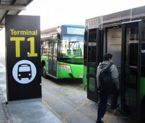 Transfer buses to T1 from Barcelona's commuter train station